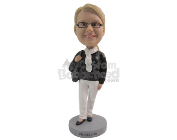 Custom Bobblehead Beautiful Lady Wearing A Leather Jacket, Tight Pants Trendy Heels And A Scarf Around Her Neck - Leisure & Casual Casual Females Personalized Bobblehead & Cake Topper