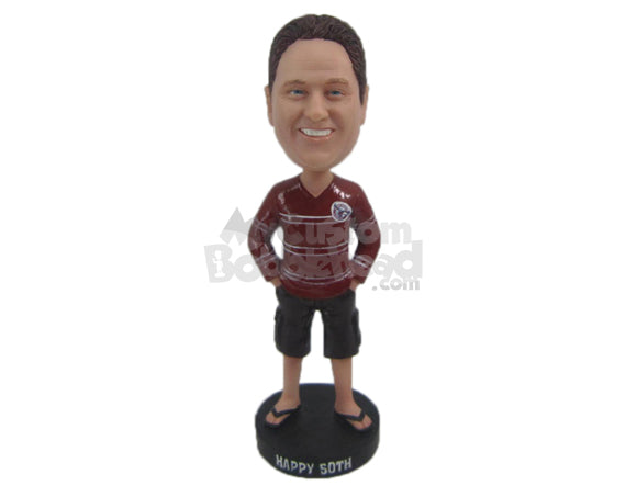 Custom Bobblehead Dude Wearing A Long-Sleeved T-Shirt, Boxers And Trendy Slippers - Leisure & Casual Casual Males Personalized Bobblehead & Cake Topper