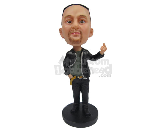 Custom Bobblehead Modern Guy With A Stylish Pair Of Jeans And One Hand In Picket - Leisure & Casual Casual Males Personalized Bobblehead & Cake Topper