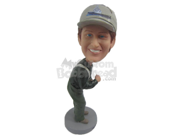 Custom Bobblehead Factory Worker Wearing His Working Suit - Leisure & Casual Casual Males Personalized Bobblehead & Cake Topper