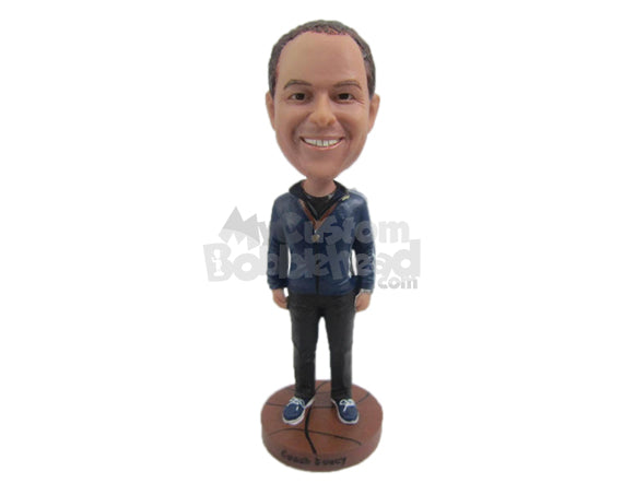 Custom Bobblehead Casual Handsome Boy Wearing A Jacket And Jeans With Fashionable Sneakers - Leisure & Casual Casual Males Personalized Bobblehead & Cake Topper