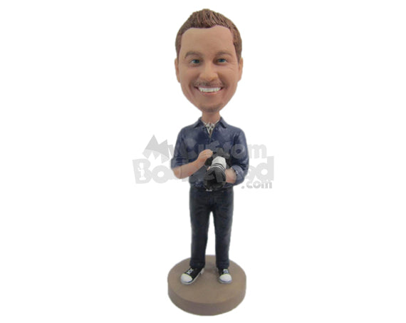 Custom Bobblehead Dude Wearing A Rolled Up Sleeved Shirt, Casual Pant And Classy Shoes - Leisure & Casual Casual Males Personalized Bobblehead & Cake Topper