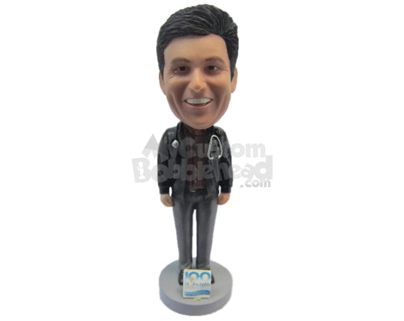 Custom Bobblehead Doctor Wearing A Jacket And Casual Front-Flap Pant - Leisure & Casual Casual Males Personalized Bobblehead & Cake Topper