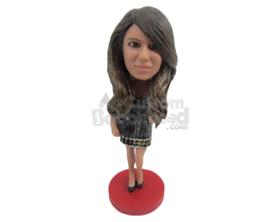 Custom Bobblehead Beautiful Lady Wearing A Gorgeous Dress With High Heels - Leisure & Casual Casual Females Personalized Bobblehead & Cake Topper