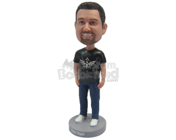 Custom Bobblehead Dude Wearing A T-Shirt And Jeans With Cool Sneakers On - Leisure & Casual Casual Males Personalized Bobblehead & Cake Topper