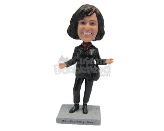 Custom Bobblehead Beautiful Female Wearing A Jacket And Front-Flap Pants With Trendy Shoes Looks Ready For The Office - Leisure & Casual Casual Females Personalized Bobblehead & Cake Topper