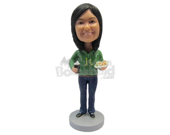 Custom Bobblehead Gorgeous Lady Wearing A Hoodie, Jeans And Sneakers - Leisure & Casual Casual Females Personalized Bobblehead & Cake Topper