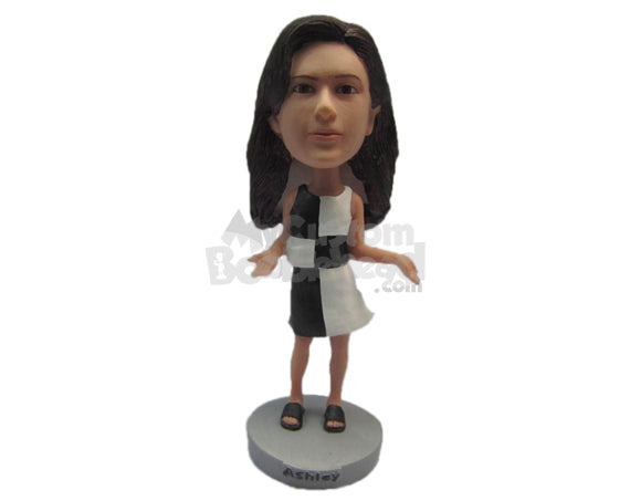Custom Bobblehead Beautiful Gal Wearing A Top And Short Skirt With Slippers Looks Fit - Leisure & Casual Casual Females Personalized Bobblehead & Cake Topper