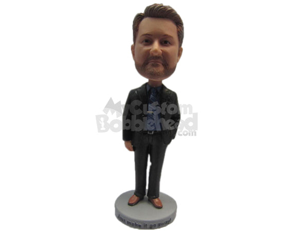 Custom Bobblehead Dude Wearing A Jacket And Formal Pants And Shoes - Leisure & Casual Casual Males Personalized Bobblehead & Cake Topper
