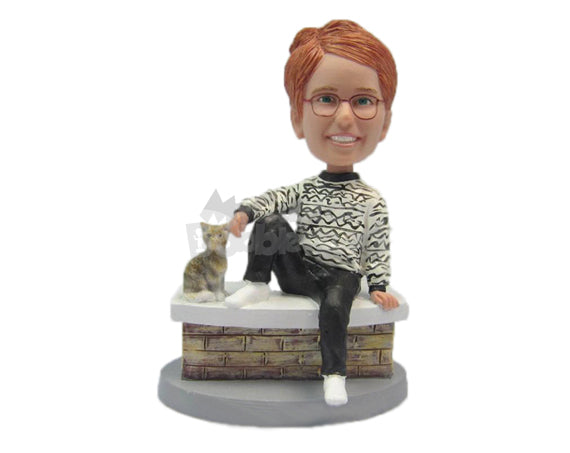 Custom Bobblehead Beautiful Girl Comfortably Seated Wearing A Sweater And Pants - Leisure & Casual Casual Females Personalized Bobblehead & Cake Topper