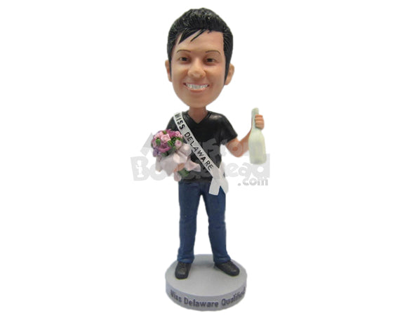 Custom Bobblehead Dude Wearing A Trendy T-Shirt And Cool Jeans With Boots - Leisure & Casual Casual Males Personalized Bobblehead & Cake Topper