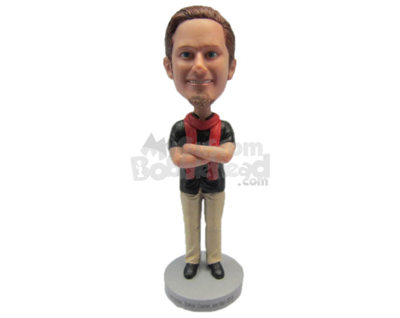 Custom Bobblehead Fashionable Gentleman Wearing A T-Shirt And Pants With Trendy Shoes And A Scarf Around His Neck - Leisure & Casual Casual Males Personalized Bobblehead & Cake Topper