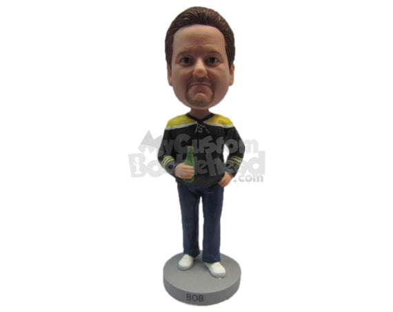 Custom Bobblehead Cool Trendy Male Wearing A Jacket And Jeans With Sneakers - Leisure & Casual Casual Males Personalized Bobblehead & Cake Topper