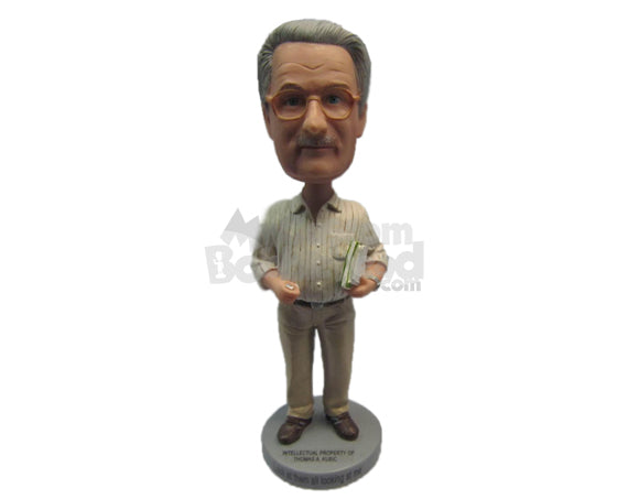 Custom Bobblehead Gentleman Wearing A Rolled Up Long-Sleeved Shirt And Pants With Formal Shoes On - Leisure & Casual Casual Males Personalized Bobblehead & Cake Topper