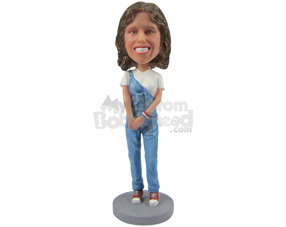 Custom Bobblehead Cute Beautiful Girl In A Stylish Pose With Hands Clenched In Front And A Wrist Band - Leisure & Casual Casual Females Personalized Bobblehead & Cake Topper