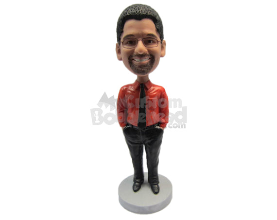 Custom Bobblehead Guy Wearing Fashionable Jacket And Both Hands In His Pockets With Front-Flat Pants And Casual Shoes - Leisure & Casual Casual Males Personalized Bobblehead & Cake Topper