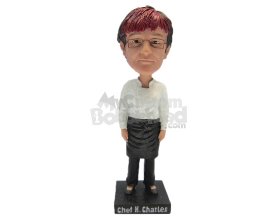 Custom Bobblehead Chef Wearing Chef Outfit, Casual Pants And Shoes - Leisure & Casual Casual Males Personalized Bobblehead & Cake Topper