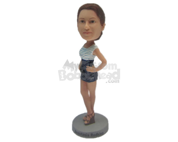 Custom Bobblehead Beautiful Gal Wearing A Top And Short Skirt With High Heels - Leisure & Casual Casual Females Personalized Bobblehead & Cake Topper
