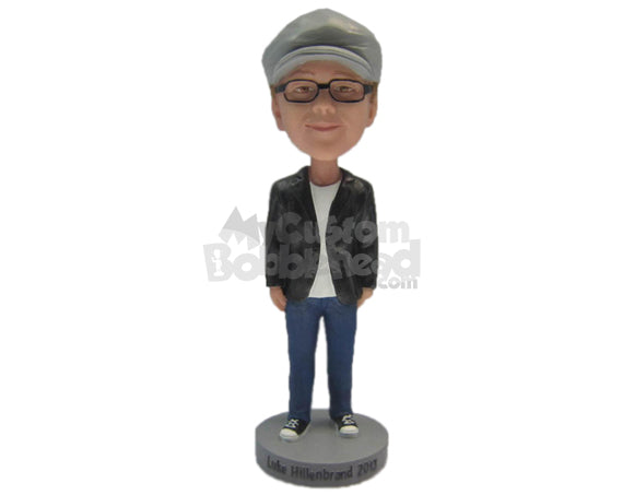 Custom Bobblehead Boy Wearing A Jacket And Jeans With Sneakers - Leisure & Casual Casual Males Personalized Bobblehead & Cake Topper