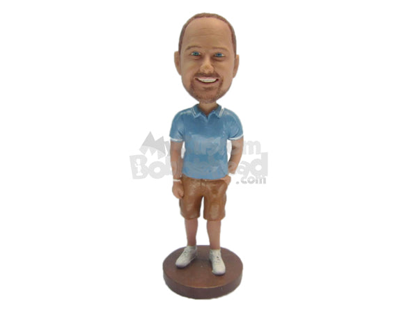 Custom Bobblehead Dude Wearing A T-Shirt And Shorts With Sneakers - Leisure & Casual Casual Males Personalized Bobblehead & Cake Topper