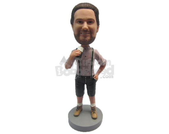 Custom Bobblehead Guy Wearing A Suspenders And Boots With One Hand In His Pocket - Leisure & Casual Casual Males Personalized Bobblehead & Cake Topper