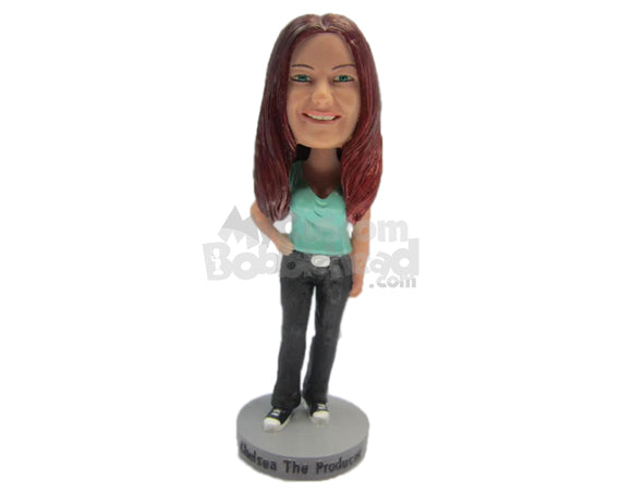 Custom Bobblehead Beautiful In A T-Shirt And Jeans With Sneakers - Leisure & Casual Casual Females Personalized Bobblehead & Cake Topper