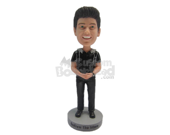 Custom Bobblehead Boy Wearing A Raincoat Over T-Shirt And Casual Pants With Trendy Shoes - Leisure & Casual Casual Males Personalized Bobblehead & Cake Topper
