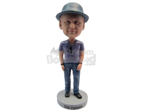 Custom Bobblehead Dude Wearing A T-Shirt And Jeans With Boots - Leisure & Casual Casual Males Personalized Bobblehead & Cake Topper