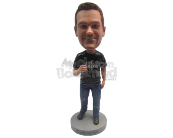 Custom Bobblehead Boy Wearing A T-Shirt, Jeans With Trendy Shoes - Leisure & Casual Casual Males Personalized Bobblehead & Cake Topper