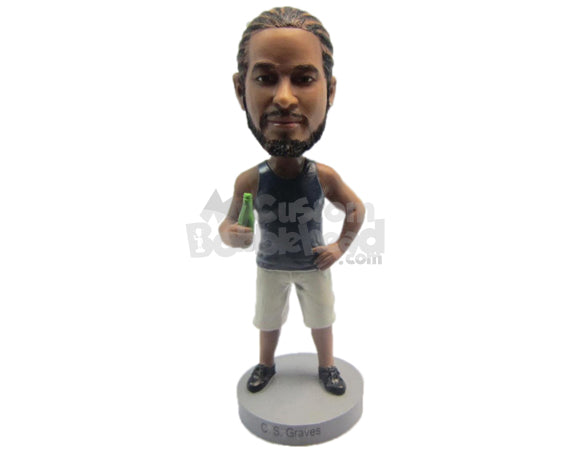 Custom Bobblehead Dude Wearing A Vest And Short Pant With Sneakers - Leisure & Casual Casual Males Personalized Bobblehead & Cake Topper