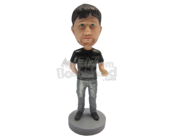 Custom Bobblehead Boy Wearing A Gorgeous T-Shirt And Jeans With Boots - Leisure & Casual Casual Males Personalized Bobblehead & Cake Topper