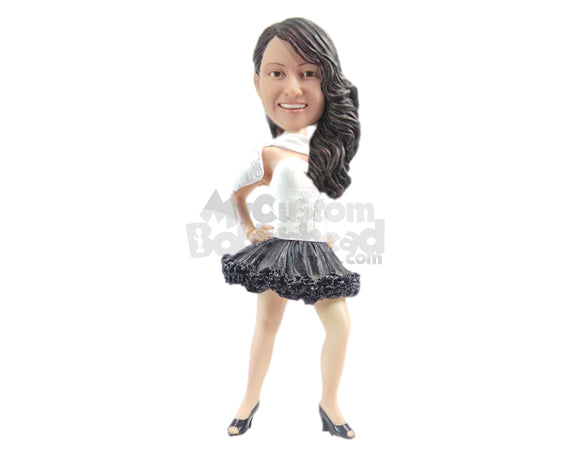 Custom Bobblehead Beautiful Girl Ready To Have A Blast In The Party Wearing A Strapless Dress With High Heels - Leisure & Casual Casual Females Personalized Bobblehead & Cake Topper