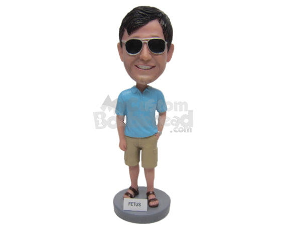 Custom Bobblehead Guy Wearing A T-Shirt And Short Pant With Sleepers - Leisure & Casual Casual Males Personalized Bobblehead & Cake Topper