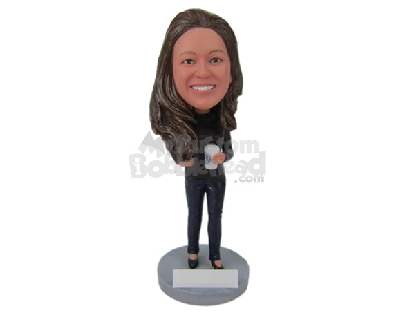 Custom Bobblehead Beautiful Girl Wearing A T-Shirt And Jeans With High Heels - Leisure & Casual Casual Females Personalized Bobblehead & Cake Topper
