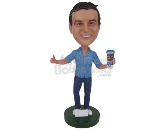 Custom Bobblehead Boy Wearing A Short-Sleeved T-Shirt And Jeans With Sneakers - Leisure & Casual Casual Males Personalized Bobblehead & Cake Topper