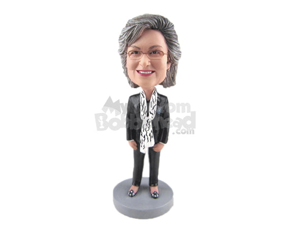 Custom Bobblehead Gorgeous Female A Jacket, Trendy Pants Pant Formal Shoes - Leisure & Casual Casual Females Personalized Bobblehead & Cake Topper