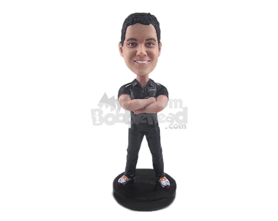 Custom Bobblehead Handsome Guy Wearing T-Shirt, Casual Jeans With Sneakers - Leisure & Casual Casual Males Personalized Bobblehead & Cake Topper