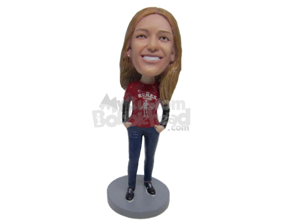 Custom Bobblehead Lady Wearing A T-Shirt Keeps Her Both Hand In Her Jeans And Wears A Sneaker - Leisure & Casual Casual Females Personalized Bobblehead & Cake Topper