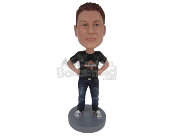 Custom Bobblehead Dude Wearing A T-Shirt And Jeans With Sneakers - Leisure & Casual Casual Males Personalized Bobblehead & Cake Topper