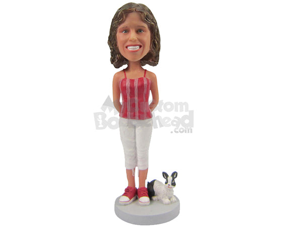 Custom Bobblehead Beautiful Smiling Lady With A Rabbbit In Stylish Top And Matching Shoes With Hands Clenched - Leisure & Casual Casual Females Personalized Bobblehead & Cake Topper