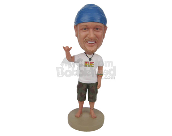Custom Bobblehead Cool Guy Showing His Moves Wearing A T-Shirt And Shorts - Leisure & Casual Casual Males Personalized Bobblehead & Cake Topper