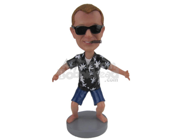 Custom Bobblehead Dude Enjoying The Moment Wearing A Short-Sleeved Shirt With Shorts - Leisure & Casual Casual Males Personalized Bobblehead & Cake Topper