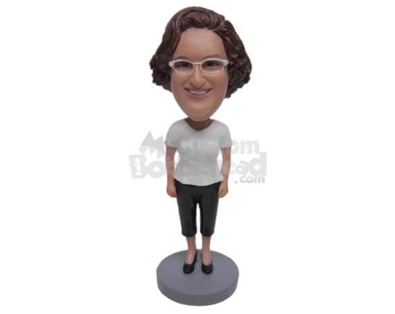 Custom Bobblehead Woman Wearing A T-Shirt, Shorts And Heels On - Leisure & Casual Casual Females Personalized Bobblehead & Cake Topper