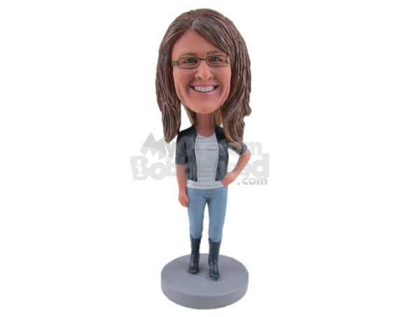 Custom Bobblehead Gorgeous Girl Wearing A Fashionable Jacket, Jeans With High Trendy Boots - Leisure & Casual Casual Females Personalized Bobblehead & Cake Topper