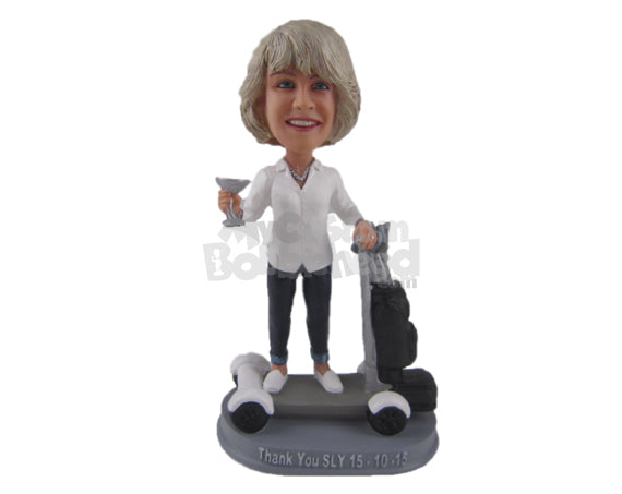 Custom Bobblehead Beautiful Female Toasting For Happiness And Wearing A Long Shirt And Jeans With Slacks - Leisure & Casual Casual Females Personalized Bobblehead & Cake Topper