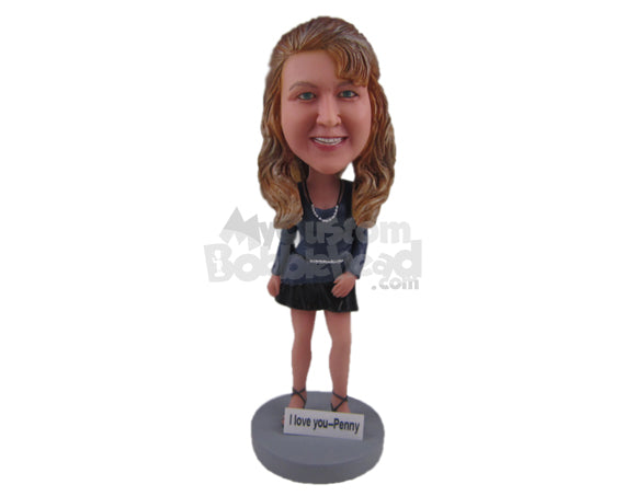 Custom Bobblehead Beautiful Lady Wearing A Long-Sleeved Top And A Short Skirt - Leisure & Casual Casual Females Personalized Bobblehead & Cake Topper
