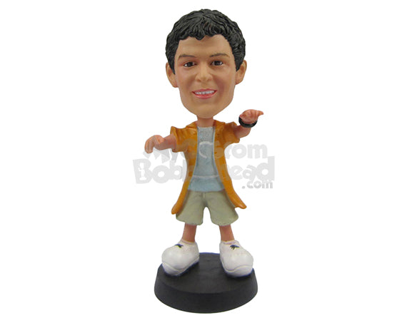 Custom Bobblehead Funky Stylish Boy In Shorts And Long Jacket With Hands In The Air - Leisure & Casual Casual Males Personalized Bobblehead & Cake Topper