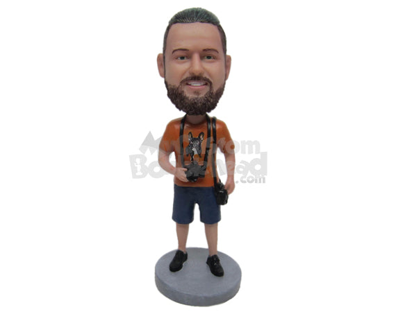 Custom Bobblehead Dude Wearing A T-Shirt And Short Pant With Slacks - Leisure & Casual Casual Males Personalized Bobblehead & Cake Topper