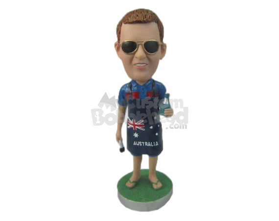 Custom Bobblehead Guy Wearing An Cooking Apron With Sandals On - Leisure & Casual Casual Males Personalized Bobblehead & Cake Topper