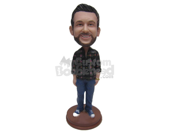 Custom Bobblehead Cool Dude Wearing A Shirt And Jeans With Fashionable Sneakers - Leisure & Casual Casual Males Personalized Bobblehead & Cake Topper